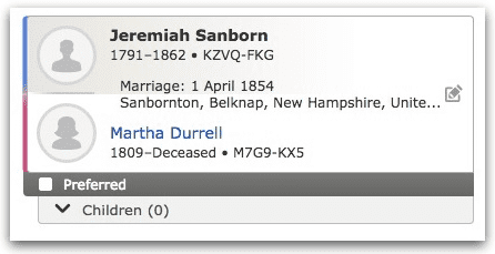 A marriage record for Jeremiah Sanborn and Martha Durrell, from FamilySearch