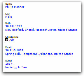 Photo: record for Philip Mosher from FamilySearch