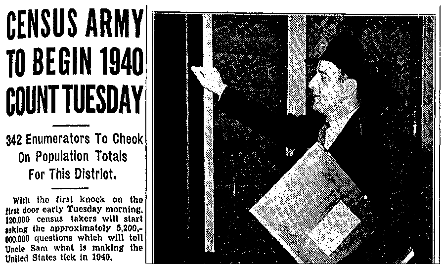 An article about the 1940 census, Repository newspaper article 31 March 1940