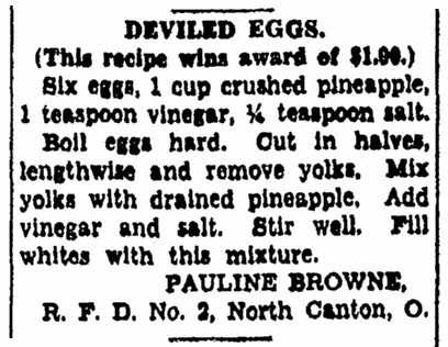 A recipe for deviled eggs, Repository newspaper article 22 July 1928
