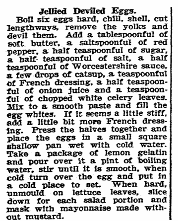 A recipe for deviled eggs, Rockford Republic newspaper article 31 March 1927