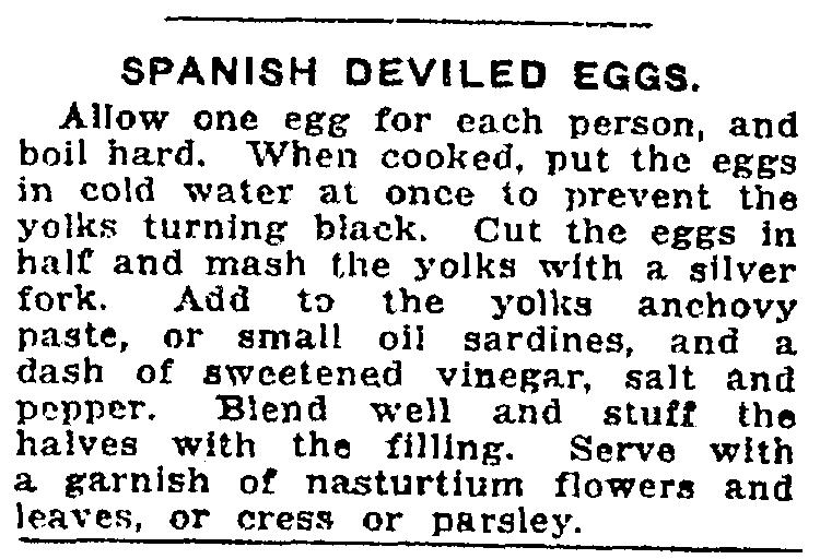 A recipe for deviled eggs, Salt Lake Telegram newspaper article 5 September 1919