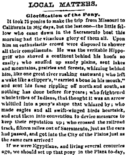 An article about the Pony Express, San Francosco Bulletin newspaper article 14 April 1860