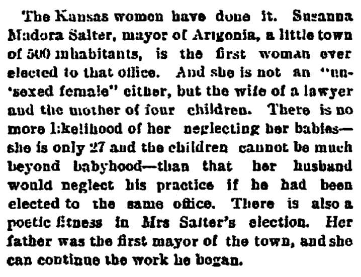 An article about Susanna Salter, Springfield Republican newspaper article 1 May 1887