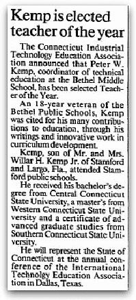 An article about Peter Kemp, Stamford Advocate newspaper article 30 April 1989