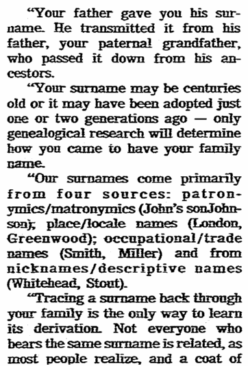 An article about surnames, State newspaper article 30 June 1985