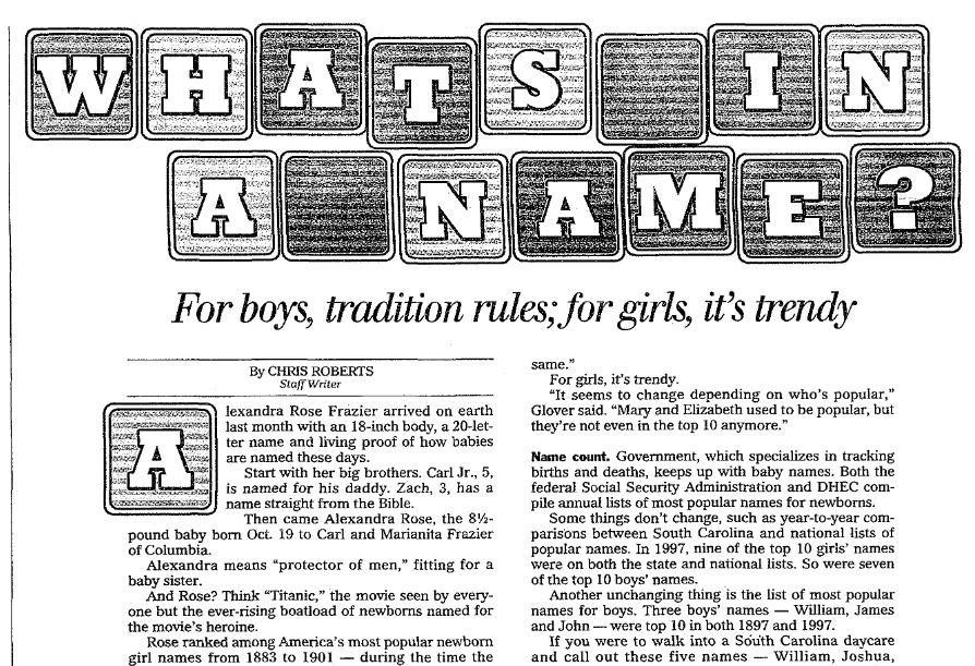 An article about names, State newspaper article 1 November 1998