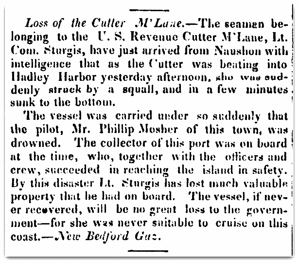 An article about the shipwreck of the U.S. Revenue Cutter McLane, Trumpet and Universalist Magazine newspaper article 9 September 1837