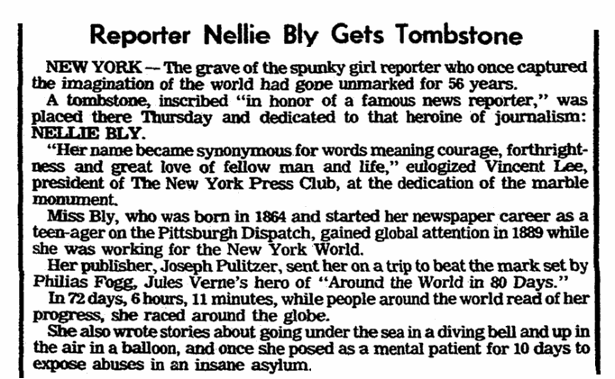 An article about Nellie Bly, Charleston News and Courier newspaper article 23 June 1978
