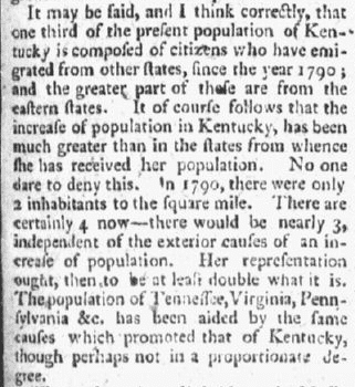 An article about Kentucky's population based on the 1790 U.S. Census, Constitutional Telegraph newspaper article 23 November 1799