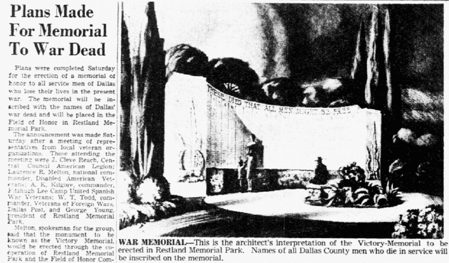 An article about a World War II memorial, Dallas Morning News newspaper article 13 September 1942