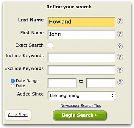 "A screenshot of GenealogyBank's search page showing a search for ""John Howland"""