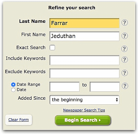 "A screenshot of GenealogyBank's search page showing a search for ""Jeduthan Farrar"""