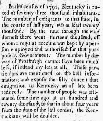 An article about Kentucky's population based on the 1790 U.S. Census, Herald newspaper article 28 January 1795