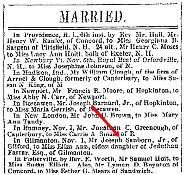 Marriage notices, Independent Democrat newspaper article 15 November 1849