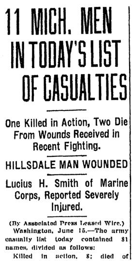 A World War I casualty list, Jackson Citizen Patriot newspaper article 15 June 1918