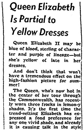 An article about Queen Elizabeth, Jersey Journal newspaper article 23 January 1954
