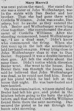 An article about Mary Harrell, Knoxville Journal newspaper article 30 May 1890