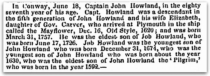 An obituary for John Howland, National Aegis newspaper article 12 July 1843