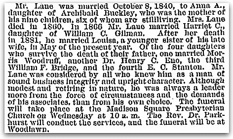An obituary for George W. Lane, New York Tribune newspaper article 31 December 1883
