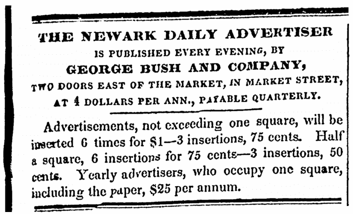 An article about George Bush, Newark Daily Advertiser newspaper article 26 May 1832