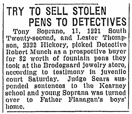An article about Tony Soprano, Omaha World-Herald newspaper article 5 March 1922