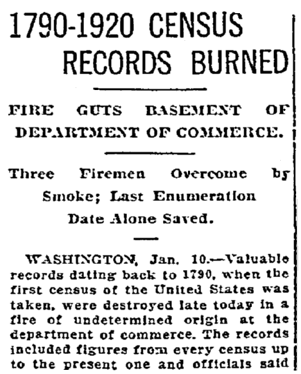 An article about the U.S. Census, Oregonian newspaper article 11 January 1921