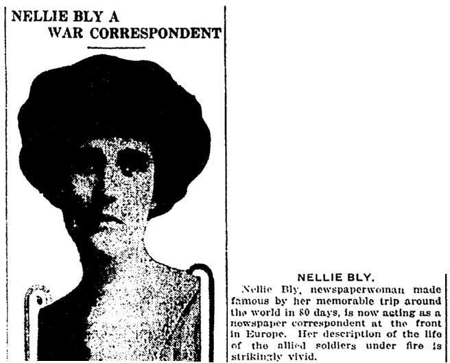 An article about Nellie Bly, Springfield Daily News newspaper article 11 December 1914