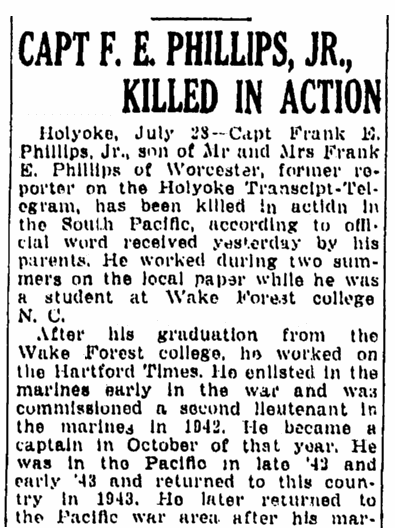An obituary for Frank Phillips, Springfield Republican newspaper article 29 July 1944