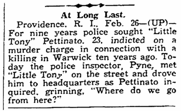 An article about Tony Pettinato, State newspaper article 27 February 1937
