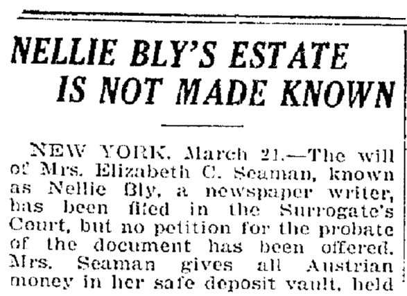 An article about Nellie Bly, Trenton Evening Times newspaper article 21 March 1922