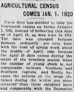 An article about the Agricultural Census, Baltimore American newspaper article 4 July 1919