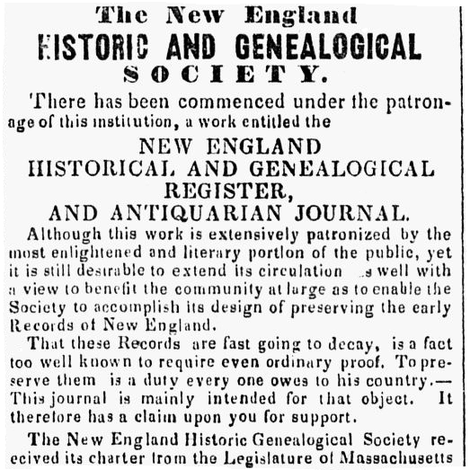 An article about the New England Historic and Genealogical Society, Berkshire County Whig newspaper article 24 August 1848