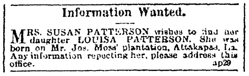 A missing person ad, Black Republican newspaper advertisement 13 May 1865