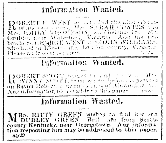 Missing person ads, Black Republican newspaper advertisement 13 May 1865