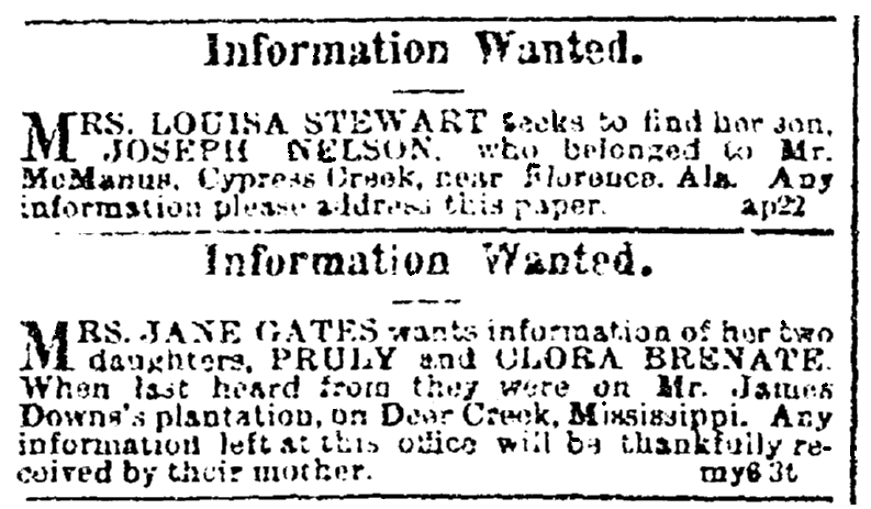 Missing person ads, Black Republican newspaper advertisements 13 May 1865