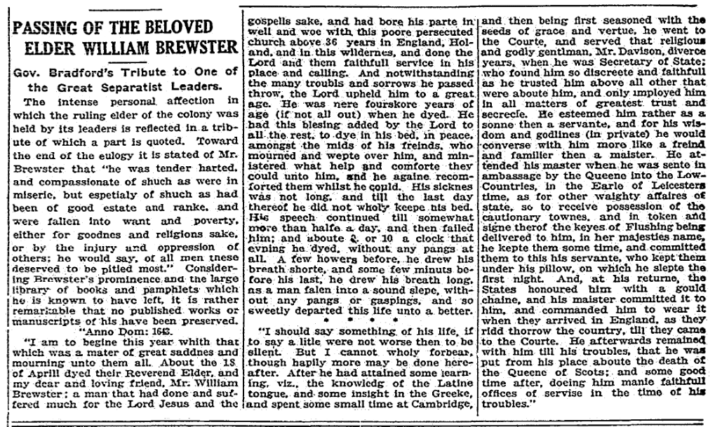 An obituary for Mayflower Pilgrim William Brewster, Boston Herald newspaper article 21 August 1916