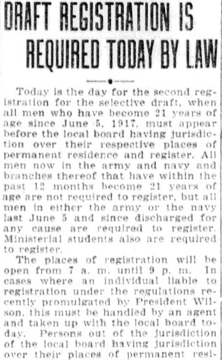 An article about the World War I draft, Charlotte Observer newspaper article 5 June 1918