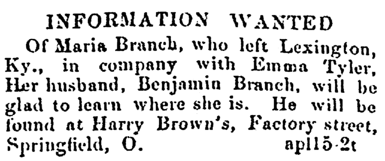 A missing person ad, Colored Citizen newspaper advertisement 19 May 1866
