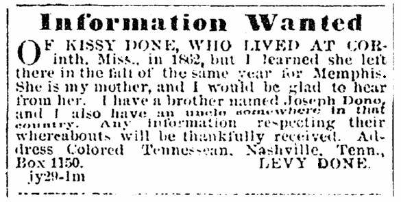 A missing person ad, Colored Tennessean newspaper advertisement 12 August 1865