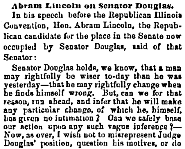 An article about Abraham Lincoln, Daily Commercial Register newspaper article 24 June 1858