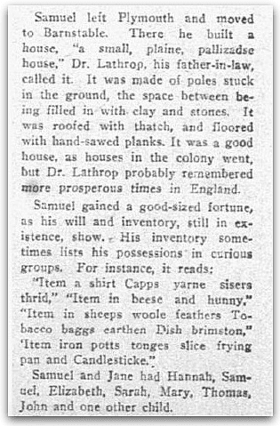 An article about Mayflower passenger Samuel Fuller, Dallas Morning News newspaper article 3 January 1915