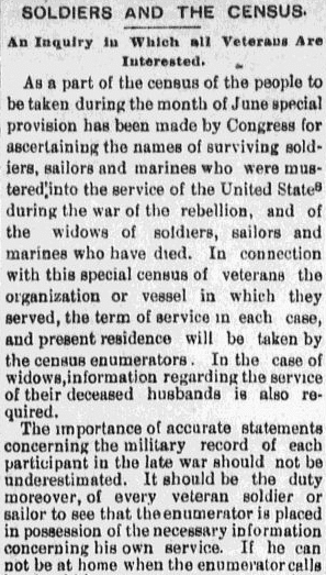 An article about military service records in the 1890 U.S. Census, Evening News newspaper article 31 May 1890