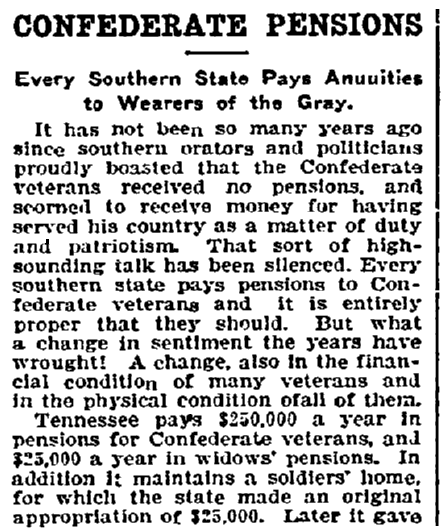 An article about Confederate pensions after the Civil War, Fort Worth Star-Telegram newspaper article 27 February 1907