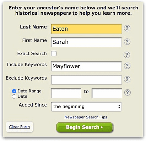 "A screenshot of GenealogyBank's search page showing a search for ""Sarah Eaton"" and ""Mayflower"""