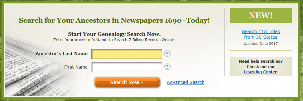 A screenshot of GenealogyBank's home page showing the announcement for new content added in June 2017