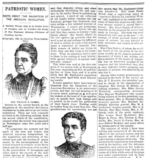 An article about the Daughters of the American Revolution, Idaho Statesman newspaper article 12 April 1892