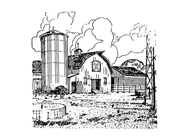Illustration: a barn on a farm