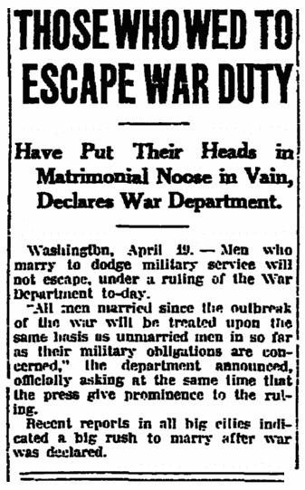 An article about the World War I draft, Jersey Journal newspaper article 19 April 1917