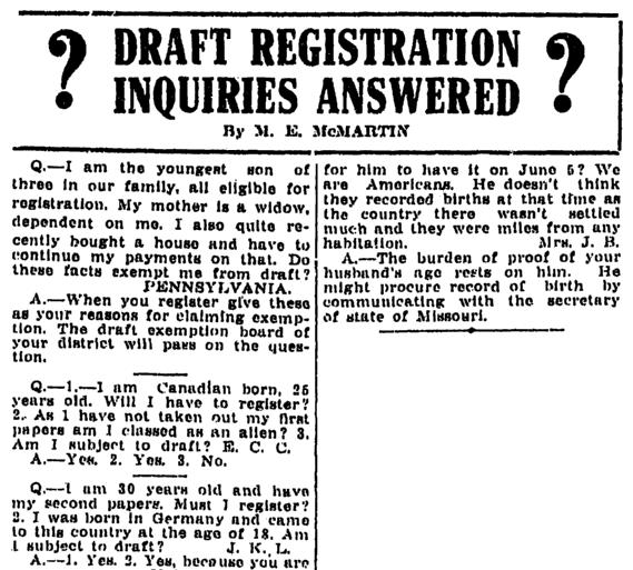 An article about the World War I draft, Kalamazoo Gazette newspaper article 4 June 1917